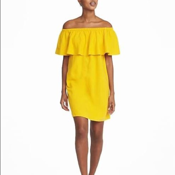 3c74c45b3009 Yellow off the shoulder dress